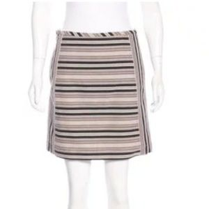 Derek Lam 10 Crosby Striped Mini Skirt Brown & Tan